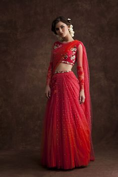 Net Lehenga - a different look but I love how light it is Indian Attire, Indian Ethnic Wear, Indian Style, Indian Dresses, Indian Outfits, Indische Sarees, Look Short, Indian Bridal Wear, Desi Clothes