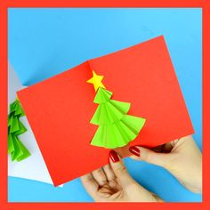do love a card that pops and this Christmas card tree pop up card does just that. A simple Christmas craft for kids to make.We do love a card that pops and this Christmas card tree pop up card does just that. A simple Christmas craft for kids to make. Christmas Card Crafts, Christmas Art, Holiday Crafts, Homemade Christmas, Diy Christmas Cards Pop Up, Christmas Cards For Kids, Christmas Crafts For Kids To Make At School, Simple Christmas Crafts, Origami Christmas Tree