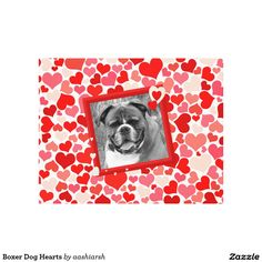#Boxer #Dog #Hearts #Canvas Print #red #love #dogphoto #animal