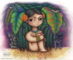 """#ElementEdenArtSearch """"Niña Frida"""", colour pencils on paper."""