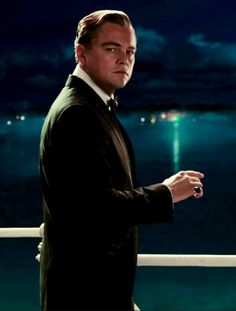 This picture of Gatsby represents when he would go to his dock and look across the bay at the green light where Daisy is.