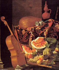 Still-Life with Musical Instruments and Fruit - Cristoforo Munari Gallery - still-life Painting Art Be Still, Still Life, Renaissance, Medieval Paintings, Early Music, Italian Baroque, Italian Painters, Conceptual Art, Wine Recipes