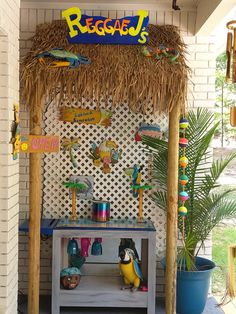 My husband made this tiki bar for me in a couple of hours. Tiki Bars, Ladder Decor, Husband, Couple, Home Decor, Decoration Home, Room Decor, Home Interior Design, Couples