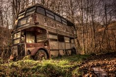 """Rust In Peace -- [English Bus in ruine.]~[Photograph by Arnaud Cassagnet - February Abandoned Buildings, Abandoned Houses, Abandoned Places, Abandoned Vehicles, Abandoned Asylums, Pompe A Essence, Rust In Peace, Barn Finds, Old Trucks"