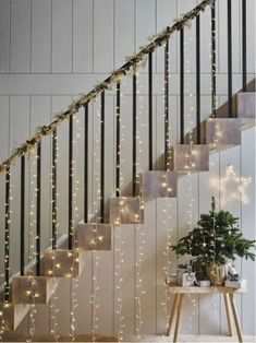Top 10 Ways To Decorate With Fairy Lights Brighten up any room by adding twinkling fairy lights into your decor. Many people use twinkling fairy lights to develop coziness in specific spaces or turn a room into a mystical fairy wonderland. Christmas Stairs Decorations, Light Decorations, Christmas Lights, Adult Christmas Party, Vintage Christmas, Christmas Crafts, Scandinavian Christmas Decorations, Bedroom Decor For Couples, Diy Bedroom