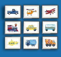 How to build a dressing room? Toddler Boy Room Decor, Boys Room Decor, Toddler Rooms, Truck Nursery, Nursery Art, Art Wall Kids, Art For Kids, Transportation Nursery, Boy Art