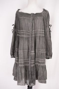 Lauren Vidal Grey Peasant Dress Size XL by Lauren Vidal | ClosetDash