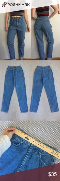"""Vintage high waist mom jeans tall Vintage mom jeans // brand: Bonjour // gorgeous slim tapered leg // medium blue wash // tagged 9/10 tall, these would best fit a leggy 26-28 (model wears 25"""" waist for reference) // waist hits very high at a rise of 12"""" and measures 26"""" // hips: 38"""" // inseam: 31"""" // compare to vintage mom jeans collected and sold at Urban Outfitters, ASOS, Brandy Melville, Nasty Gal, Aritzia, and others // offers welcome! Vintage Jeans"""