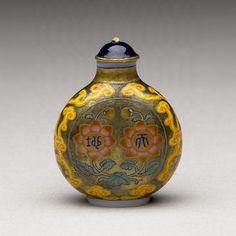 Tabatière en verre peint & dorure - Cuillère ivoire - Capuchon cuivre émaillé bleu et or - Période Qianlong d. Qing