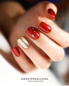 Christmas Gel Nails, Christmas Nail Art Designs, Holiday Nails, Christmas Makeup, Easy Christmas Nail Art, Xmas Nail Art, Red Nail Art, Nagellack Design, Nagellack Trends