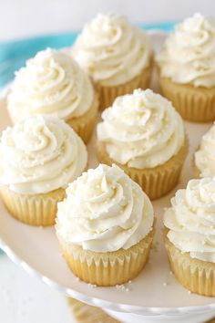 Fluffy & Moist Vanilla Cupcakes Recipe Moist and Fluffy Vanilla Cupcakes! My favorites!<br> These Vanilla Cupcakes are moist, light & fluffy! If you are looking for a totally foolproof, easy & perfect classic vanilla cupcake recipe this is it! Frost Cupcakes, Vanilla Frosting For Cupcakes, Cupcakes Amor, Cupcake Frosting Recipes, Mini Cupcakes, Cupcake Cakes, Vanilla Buttercream, Buttercream Frosting, Cupcakes Boston