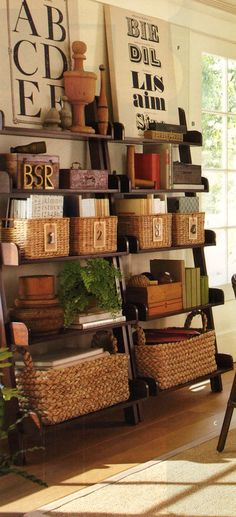 These ladder bookshelves are gorgeous!