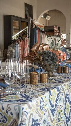3885e8216c1 Another beauty from Pop-Up Showcase! Bold colors and patterns are totally  trending this season. We love the use of this linen with accents of  copper-gold!