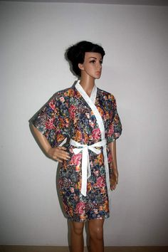 Grey  floral robe, bridesmaid robes, gift for her, baby shower, japanese kimono. $27.00, via Etsy.