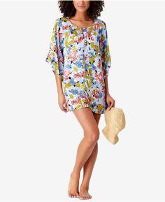 a4ca9616c81 Studio Anne Cole Brigitte Floral-Print Crochet-Trim Cover-Up Women s  Swimsuit
