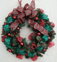 Christmas Joy Wreath Holiday wreath Evergreen by DesignsOnHoliday Apple Decorations, Christmas Decorations, Holiday Decor, Holly Wreath, Green Wreath, Green Ribbon, Red Glitter, Holiday Wreaths, Decorative Items