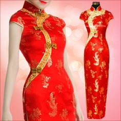 Bridal red traditional vintage cheongsam long design married chinese style formal dress evening dress long Qipao 5105(China (Mainland))