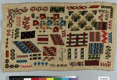 Sampler Date: 19th century Culture: probably Dutch Medium: Wool and silk on cotton canvas Dimensions: H. 8 1/8 x W. 13 1/4 inches (20.6 x 33.7 cm) Classification: Textiles-Embroidered Credit Line: From the Collection of Mrs. Lathrop Colgate Harper, Bequest of Mabel Herbert Harper, 1957