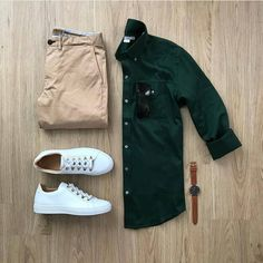 Does this color combo work? Rate this outfit below ⤵️ Shirt: Utility Pants: Tan Chinos Shoes: Gavia Bianco Shades: Watch: . Casual Wear, Casual Outfits, Men Casual, Fashion Outfits, Mens Casual Shirts, Urban Style Outfits, Denim Shirt Men, Fashion Advice, Chino Shoes