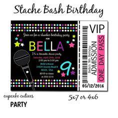 Slumber Party Karaoke Neon  Full Invite  TIcket  Digital Custom Invitation Card  PRINTABLE on Etsy, $12.00