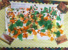 Open for interpretation: Autumn inspired collaborative art. Exploration of colours via sensory experience. Photos of natural environment to engage inquiry and interpretation. Sensory Experience, Collaborative Art, Child Care, Reggio, Autumn Inspiration, Environment, Colours, Inspired, Natural