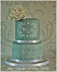 Wedding Victorian Lace Cake with Monogram The colors are pretty