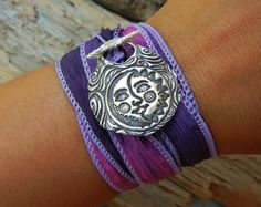 Hippie Jewelry, Sun & Moon Handmade Silk Wrap Bracelet by HappyGoLickyJewelry.com Click pic to see 50+ designs in 18 colors