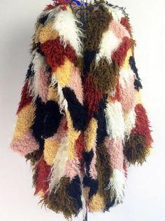 Slay Accessories. Mongolian faux fur patchwork coat. Faux fur multicolor patchwork coat. Stylish faux fur coat.