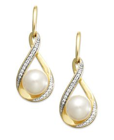 Cultured Freshwater Pearl and Diamond ct.) Earrings in Gold - Pearls - Jewelry & Watches - Macy's Diamond Drop Earrings, Emerald Earrings, Bridal Earrings, Pearl Earrings, Pearl Jewelry, Gemstone Jewelry, Gold Jewelry, Fine Jewelry, Peridot Jewelry