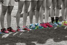 Neon flats at the starting line, muddy flats at the finish line. Runner problems
