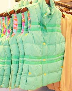 Lilly Pulitzer Resort '13- Kate Puffer Vest in Spearmint... slims, fits & flatters.