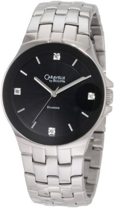 caravelle by bulova men s stainless steel bracelet watch men s wrist watches caravelle by bulova mens 43d103 metalized crystal diamond dial watch