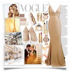 """""""Glowing In Gold"""" by angelstylee ❤ liked on Polyvore featuring ASOS, Too Faced Cosmetics, Yves Saint Laurent, Christian Dior, Oscars, gold, in and glowing"""