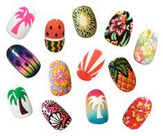 Tropical nails designed by The Illustrated Nail for #RokitAlohaFriday #hawaiian #nailart