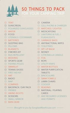 50 things to pack, for your next camping trip! Are there any on this list, that you missed? #camping #outdoors