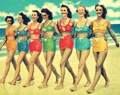 retro photography BEACH BABES 8x10 coastal color 1940s vintage red aqua yellow orange swimsuits beach lover gift Nostalgia