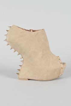 $47.90  Shoe Republic Sight Heel Less Studded Spike Curved Wedge Bootie