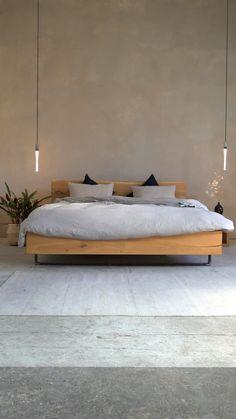 Wood Bed Design, House Furniture Design, Home Room Design, Interior Design Living Room, Living Room Furniture, Modern Master Bedroom, Master Bedroom Design, Minimalist Bedroom, Minimalist Bed Frame