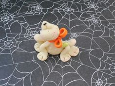 Polymer Clay Glow in the Dark Frog with Orange by ClayBabiesInc