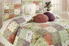 Blooming Prairie Patchwork Quilt Set features pretty Jacobean style florals, paisley designs, and leaf patterns. Cotton patchwork quilt includes colors of. Decor, Snow Bedding, Cheap Bedding, Bedding Sets Master Bedroom, Home Decor, Bed, Beautiful Bedding, Bedding Sets