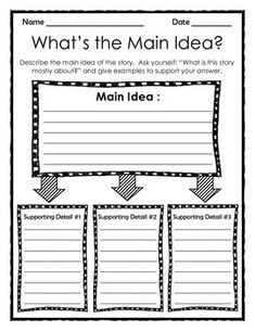 Graphic Organizer: What's the Main Idea? - Larisa Stewart - It is The Time Club Reading Lessons, Reading Strategies, Reading Activities, Reading Skills, Teaching Reading, Reading Comprehension, Main Idea Activities, Reading Room, Writing Skills