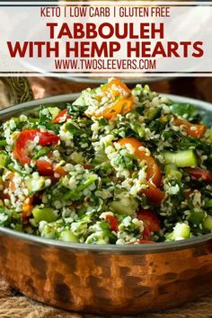 Enjoy tabbouleh but trying to avoid the high carb content due to the bulgar? My Tabbouleh with Hemp Hearts is the keto tabbouleh you've been dreaming of! Vegetarian Side Dishes, Keto Side Dishes, Vegetarian Cooking, Vegetable Side Dishes, Vegetarian Recipes, Vegetarian Salad, Vegetable Salad, Vegetable Recipes, Delicious Vegan Recipes