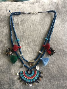 Knitted Necklace, Boho Necklace, Beaded Earrings, Pearl Necklace, Jewelry Crafts, Jewelry Art, Jewelry Design, Textile Jewelry, Fabric Jewelry