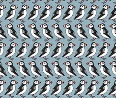 Puffin Row -Puffins?!?! I love Puffins!!!  Blue fabric by andrea_lauren on Spoonflower - custom fabric