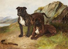 National Dog Day - Jack Tar and Another Bulldog by Wright Barker, 1895.