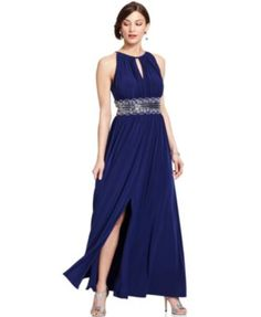 R&M Richards Sleeveless Beaded Evening Gown  I love this, but I'd cut the slit a bit higher before wearing it