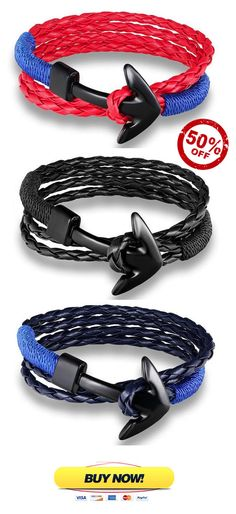 Hand-braided leather bracelets accented with a distinctive hook detail, this anchor bracelet features a double stranded design. The anchor is crafted from solid steel for a sleek finish that will work well when stacked with other styles.
