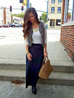 fur vest + lace + maxi skirt