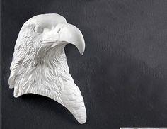 Retro Copper/White Eagle Head Decorative Resin Mural