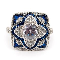 Edwardian Art Deco inspire Engagement Ring - 1.08 Ct Round White and Blue Baguette cubic Zirconia Wedding ring - Antique Victorian Ring Art Deco Wedding Rings, Antique Wedding Rings, Art Deco Ring, Wedding Rings For Women, Antique Rings, Diamond Art, Vintage Diamond, Sapphire Diamond, Edwardian Ring